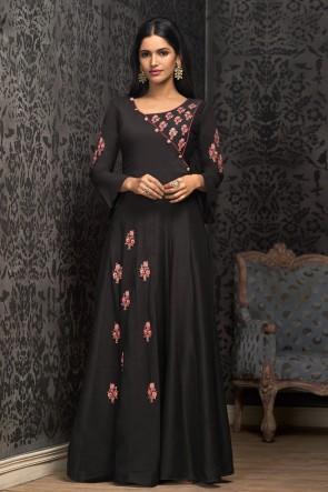Marvelous Embroidered Black Designer Muslin Gown