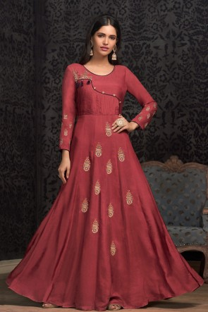 Party Wear Rust Embroidered Muslin Gown