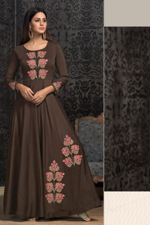 Lovely Embroidered Brown Muslin Designer Gown