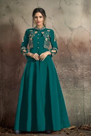 Marvelous Tapeta Embroidered Teal Designer Gown
