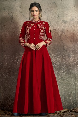 Party Wear Red Tapeta Embroidered Gown