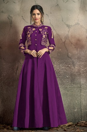 Violet Tapeta Embroidered Excellent Gown