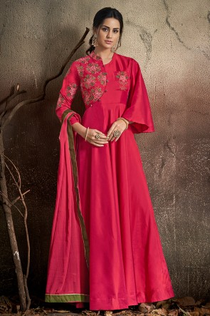 Lovely Pink Embroidered Tapeta Anarkali Suit With Nazmin Dupatta