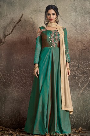 Elegant Embroidered Tapeta Teal Anarkali Suit With Nazmin Dupatta