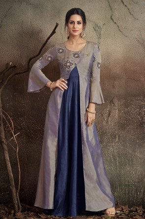Solid Grey And Navy Blue Embroidered Designer Tapeta Anarkali Suit With Nazmin Dupatta