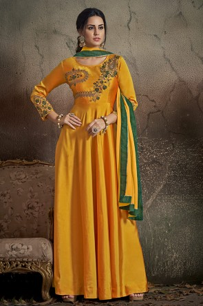 Admirable Yellow Embroidered Tapeta Anarkali Suit With Nazmin Dupatta
