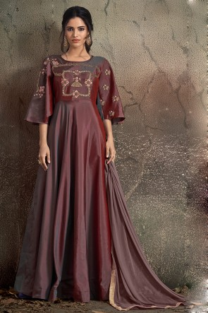 Classy Brown Embroidered Designer Tapeta Anarkali Suit With Nazmin Dupatta
