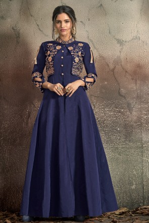 Superb Navy Blue Embroidered Tapeta Anarkali Suit With Nazmin Dupatta