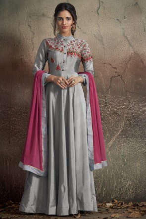 Fascinating Embroidered Designer Silver Tapeta Anarkali Suit With Nazmin Dupatta