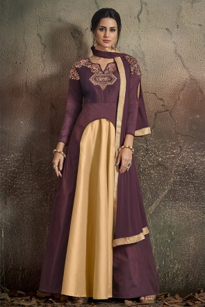 Optimum Embroidered Coffee Tapeta Anarkali Suit With Nazmin Dupatta