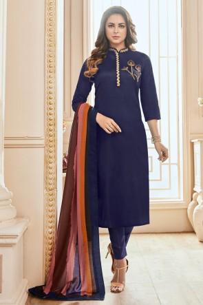 Lovely Hand Work Navy Blue Cotton Casual Salwar Kameez With Maslin Dupatta