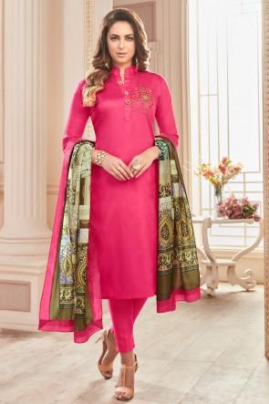 Gorgeous Cotton Pink Hand Work Casual Salwar Suit With Maslin Dupatta