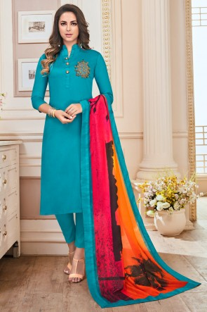 Sky Blue Hand Work Cotton Casual Salwar Suit With Maslin Dupatta