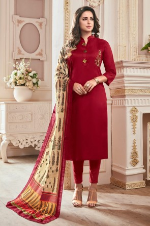 Delightful Maroon Hand Work Cotton Casual Salwar Suit With Maslin Dupatta