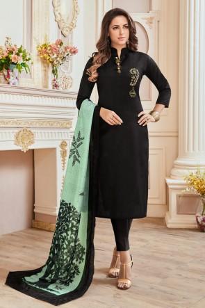 Charming Black Hand Work Cotton Casual Salwar Kameez With Maslin Dupatta