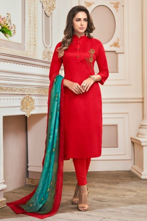 Red Cotton Hand Work Casual Salwar Suit With Maslin Dupatta