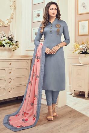 Grey Hand Work Cotton Casual Salwar Suit With Maslin Dupatta