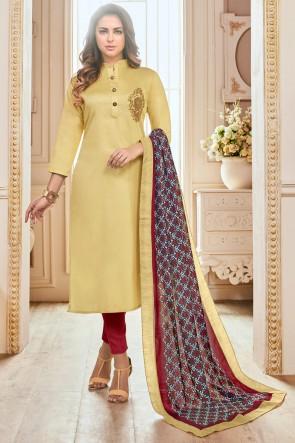 Charming Yellow Hand Work Cotton Casual Salwar Kameez With Maslin Dupatta