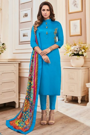 Party Wear Sky Blue Cotton Hand Work Casual Salwar Suit With Maslin Dupatta