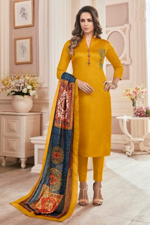 Marvelous Yellow Hand Work Cotton Casual Salwar Kameez With Maslin Dupatta