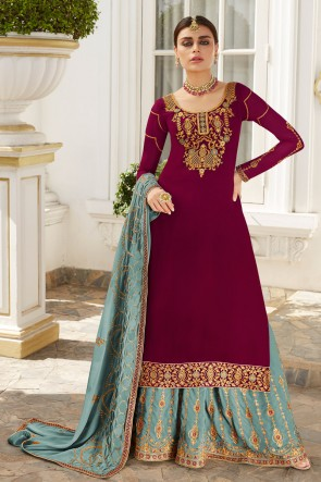 Marvelous Maroon Embroidered And Stone Work Georgette Lehenga Suit And Dupatta