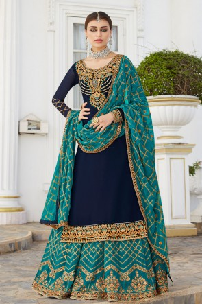 Lovely Stone Work And Embroidered Navy Blue Georgette Lehenga Suit And Dupatta