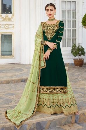 Mehendi Green Embroidered And Stone Work Georgette Lehenga Suit And Dupatta