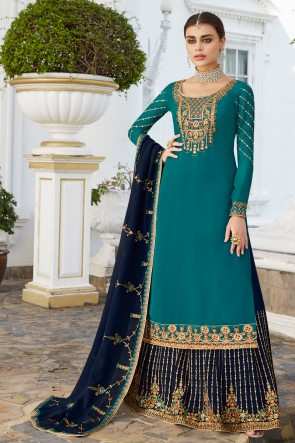 Delightful Blue Embroidered And Stone Work Georgette Lehenga Suit And Dupatta