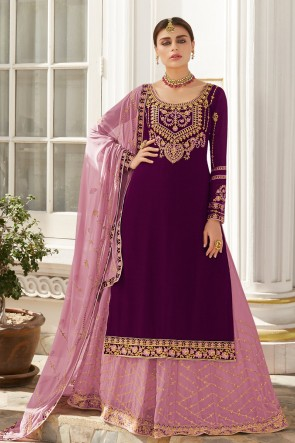 Charming Violet Stone Work And Embroidered Georgette Lehenga Suit And Dupatta