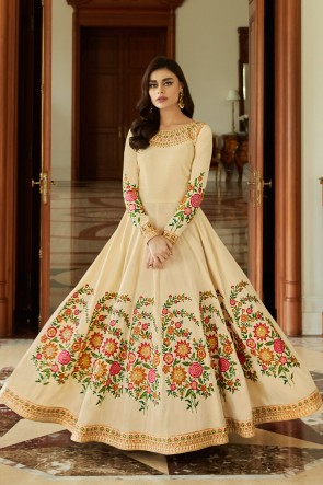 Silk Cream Embroidered Anarkali Suit With Nazmin Dupatta