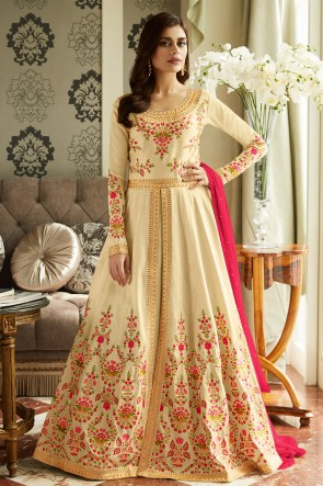 Charming Cream Embroidered Silk Anarkali Suit With Nazmin Dupatta