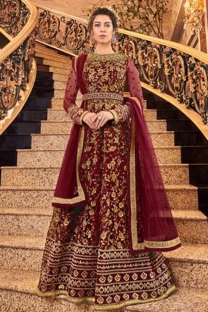 Ultimate Embroidered Designer Maroon Net Anarkali Suit With Net Dupatta