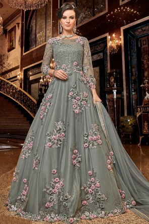 Classy Embroidered Net Grey Anarkali Suit With Net Dupatta