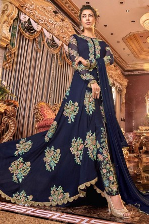 Desirable Embroidered Navy Blue Net Anarkali Suit With Net Dupatta