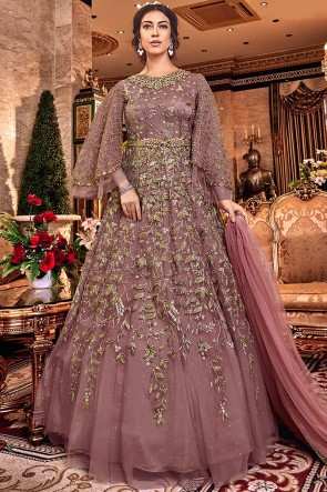 Graceful Wine Embroidered Designer Net Anarkali Suit With Net Dupatta
