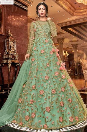 Splendid Sea Green Embroidered Net Anarkali Suit With Net Dupatta