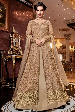 Heavy Designer Golden Embroidered Net Anarkali Suit With Net Dupatta