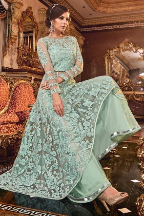 Fascinating Sky Blue Embroidered Net Anarkali Suit With Net Dupatta