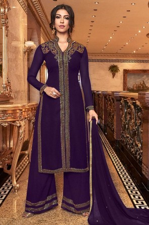 Charming Purple Embroidered Art Silk Plazzo Suit With Net Dupatta