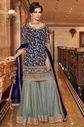 Navy Blue Embroidered Art Silk Plazzo Suit With Net Dupatta