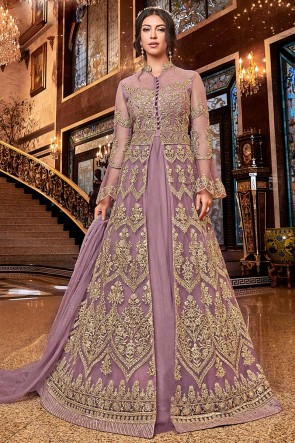 Admirable Wine Embroidered Net Anarkali Suit With Net Dupatta