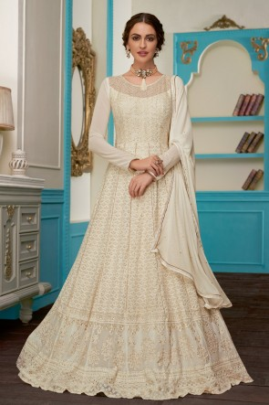 Pretty Off White Embroidered Designer Georgette Fabric Abaya Style Anarkali Suit With Nazmin Dupatta