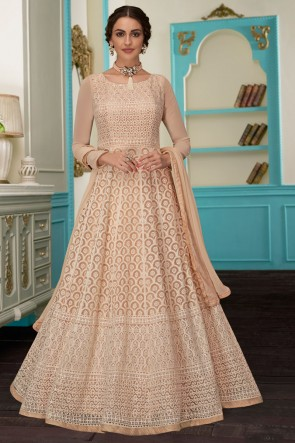 Embroidered Designer Cream Georgette Fabric Abaya Style Anarkali Suit With Nazmin Dupatta