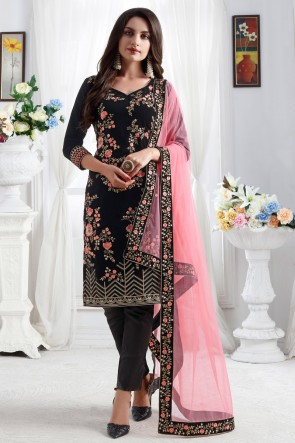 Velvet Fabric Black Resham Embroidered Designer Stylish Salwar Kameez With Net Dupatta