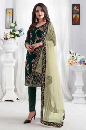 Resham Embroidery Work Designer Green Velvet Fabric Salwar Suit With Net Dupatta
