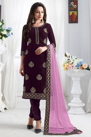 Optimum Resham Embroidery Work Designer Wine Velvet Salwar Kameez With Net Dupatta