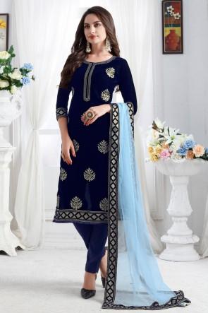 Heavy Designer Blue Resham Embroidery Work Designer Velvet Fabric Salwar Kameez With Net Dupatta