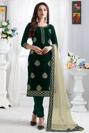 Pleasing Resham Embroidered Green Velvet Fabric Salwar Suit With Net Dupatta