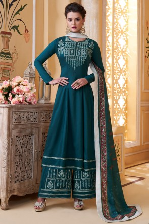 Party Wear Aqua Maslin Fabric Embroidery Work Solid Plazzo Suit And Dupatta