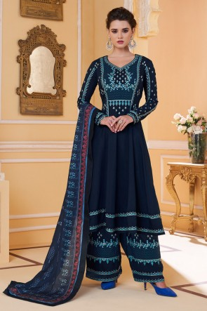 Embroidered Designer Navy Blue Maslin Fabric Stylish Plazzo Suit And Dupatta